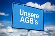 Ortsschild mit AGBs