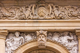 Stone carving on building exterior in Bristol UK poster