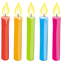 Vector set of colorful candles. No gradients.