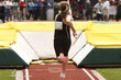 Female athlete competing in the pole vault