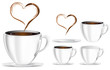 set of coffee cup with heart smoke