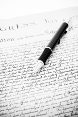 Black and White Image of Declaration with Pen