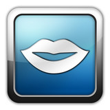 "Glossy Square Icon ""Mouth / Lips Symbol"""