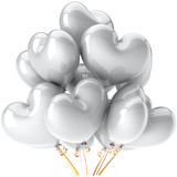 Party balloons total white heart shaped shiny and beautiful