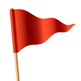 Waving red triangular flag