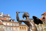 Fototapety Statue of Mermaid, Old Town in Warsaw, Poland