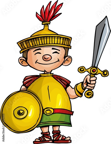 Tuinposter Ridders Cartoon Roman legionary with sword and shield