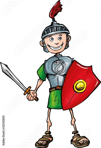 Fotobehang Ridders Cartoon Roman legionary with sword and shield