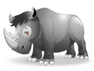 Rinoceronte Cartoon-Cute Rhinoceros-2-Vector
