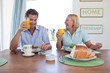 Mature couple having healthy breakfast