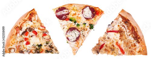 Slices of pizza isolated on white