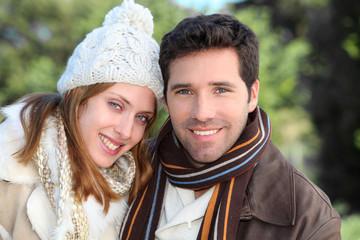 Portrait of attractive couple in winter