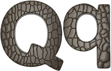 Alligator skin font Q lowercase and capital letters