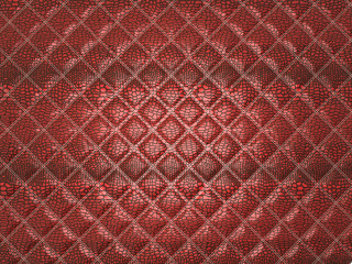 Red Alligator stitched skin. Useful as texture