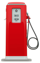 Retro red fuel pump isolated