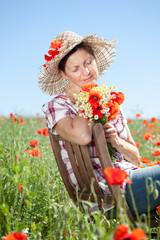 relaxen frau entspannt sich mit blumen