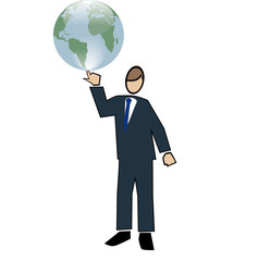 Business symbol white-man spinning world