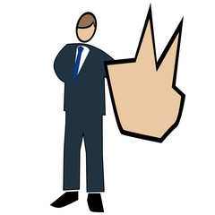 Business symbol white-man with two fingers up