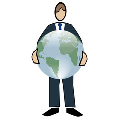 Business symbol white-man with world in hands