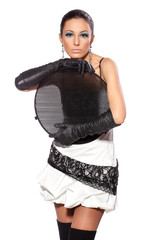 Portrait of fashion in long gloves holding honeycomb grid