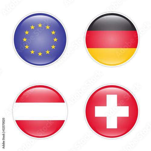Flaggenset - Europa, Deutschland, Österreich, Schweiz