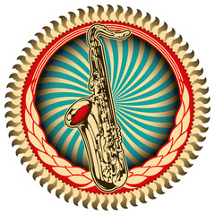 Stylish vintage label with saxophone.