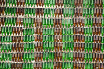 wall made of green and brown glass bottle
