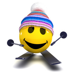 3d Smiley goes skiing