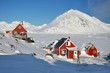 Red houses in winter, Greenland