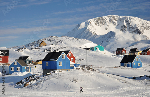Colorful houses in Kulusuk village in winter, Greenland