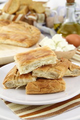 Homemade puff cheese pie with filo pastry