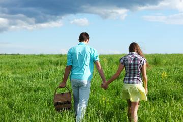 lovers hug on picnic