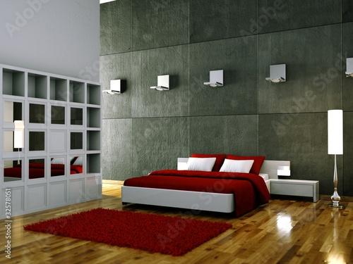 Schlafzimmer Beleuchtung : Schlafzimmer weiss rot mit Beleuchtung Stock photo and royaltyfree