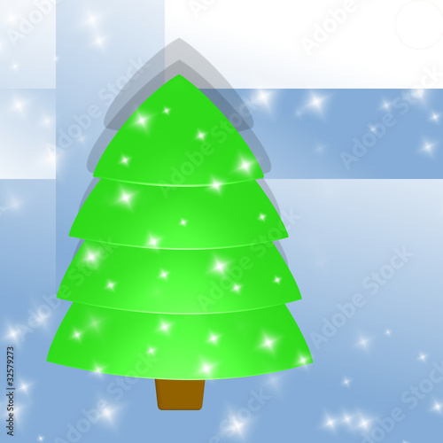 christmas - light green tree, blue abstrakt background