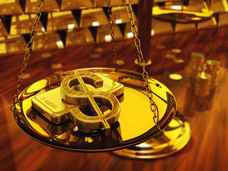Dollar sign , gold ingots and brass scale , 3d illustration