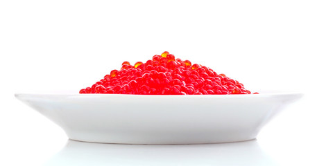 Red caviar in a plate isolated on white