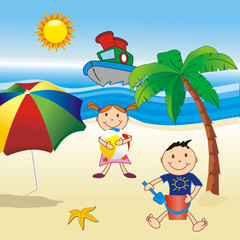 childs on the beach with umbrella