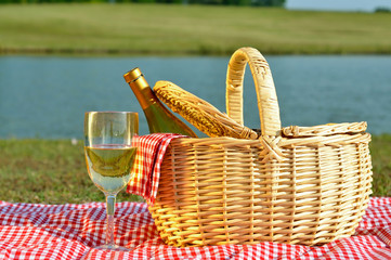 Picnic Basket and Glass of Wine