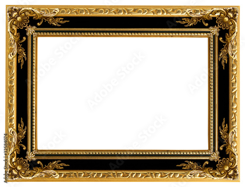 Leinwanddruck Bild Picture gold frame with a decorative pattern