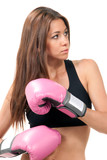 Beautiful Boxing Woman in pink box gloves