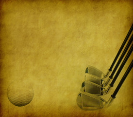 Golf Clubs and Balls on Grunge Abstract Background