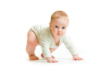 Baby boy toddler isolated trying to stand up