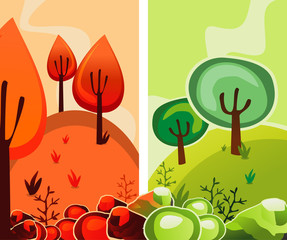 trees abstract vector illustration