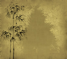Chinese ink painting of bamboo on old grunge art paper