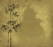 Peinture à l'encre de Chine de bambou sur le vieux papier d'art grunge