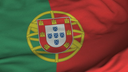 Seamless Waving Portuguese Flag with Fabric Texture