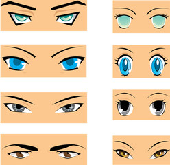 Set of different styles of manga eyes
