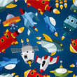 seamless spaceship pattern.