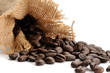 Coffee beans and bag studio isolated