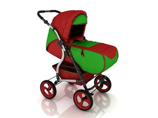 stroller on a white background in 3d